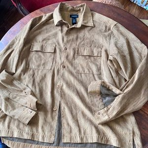 Suede like button down shirt